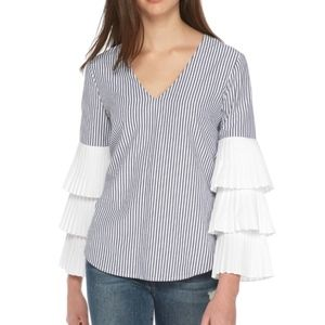 WAYF v neck pleated tiered sleeve stripe top